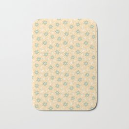 Fresh Minty Flowers Yellow Cream And Green Design Bath Mat