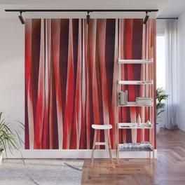 Impulsive Adventure Red Striped Abstract Pattern Wall Mural