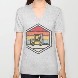 Retro Badge Forklift Unisex V-Neck