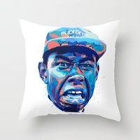 tyler the creator Throw Pillows featuring TYLER THE CREATOR: NEXTGEN RAPPERS by mergedvisible