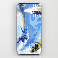 snowboarding iPhone & iPod Skins featuring Snowboarding by Robin Curtiss