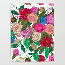 Rose, Chamomile, Buds, Peony Floral Pattern Poster