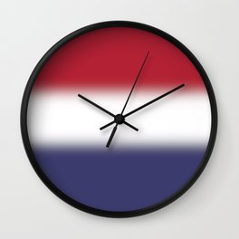 Red White and Blue Gradient Ombré Wall Clock