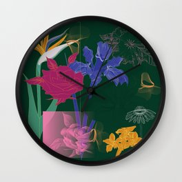 Dark Fall Flower Pattern for Home Goods Emerald Green Magenta Wall Clock