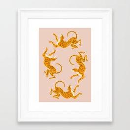 Leopard Race - pink Framed Art Print