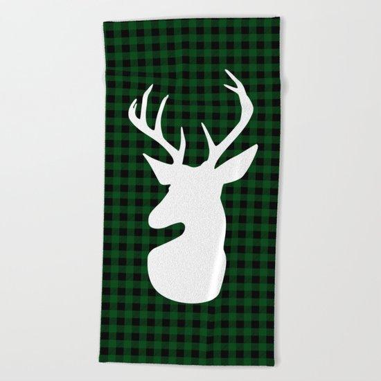Elegant Green Plaid Deer Design Beach Towel