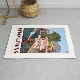 1937 France Evian-Les-Bains Travel Poster Rug