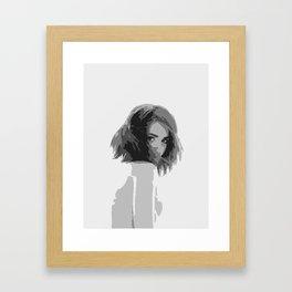 Black and white lady Framed Art Print