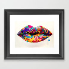 Rainbow lips Framed Art Print