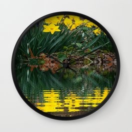 PUCE & YELLOW DAFFODILS WATER REFLECTION PATTERN Wall Clock