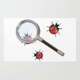 Magnifying glass and ladybird Rug