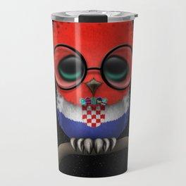 Baby Owl with Glasses and Croatian Flag Travel Mug