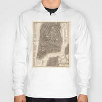 new york map Hoodies featuring New York Map by Le petit Archiviste