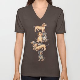 Dachshunds and dogwood blossoms Unisex V-Neck