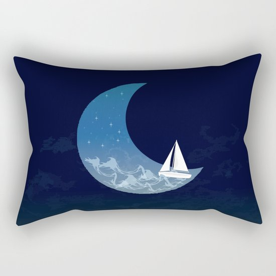 Moon Sailing Rectangular Pillow