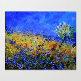 Blue cornflowers in Derage Canvas Print
