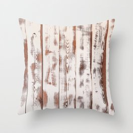 Rustic white wood. Shabby chic antique wooden texture. Throw Pillow