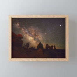 The Milky Way Over Red Rock Formations in Utah Framed Mini Art Print