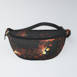 Abstract pattern of soap bubbles and gears in burgundy design on a black background. Fanny Pack