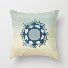 Lotus Mandala Light Blue Center Sand Water Wash Throw Pillow