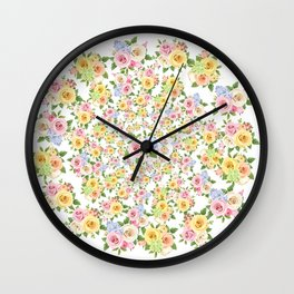 Beautiful Floral - floral, flowers, flower, rose Wall Clock