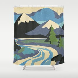 Snow on the mountain Shower Curtain