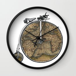 Penny Farthing Map Wall Clock