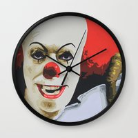 pennywise Wall Clocks featuring Pennywise the Clown from It. by MonkeyCatCreations