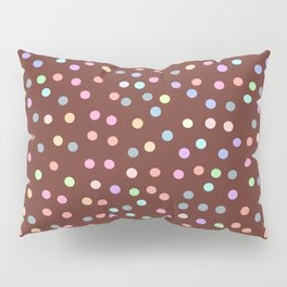 chocolate Glaze with sprinkles. Brown abstract background Pillow Sham