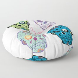 The Four Sugar Skulls . Floor Pillow