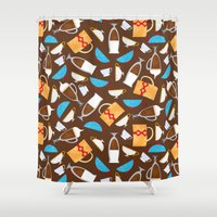 coffe Shower Curtains featuring Cup of coffe? by Olga  Varlamova