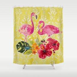 Flamingos On Damask Pattern Shower Curtain