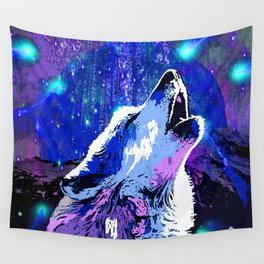 WOLF MOON AND SHOOTING STARS Wall Tapestry