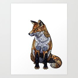 Stained Glass Fox Art Print