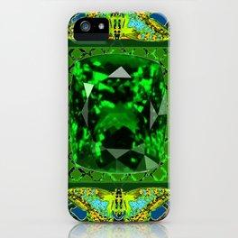 DECORATIVE  GREEN EMERALD GEM & BUTTERFLY ART DESIGN iPhone Case