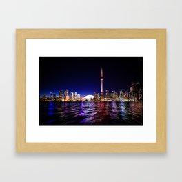 toronto city cn tower skydome Framed Art Print