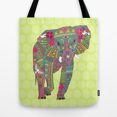 painted elephant chartreuse dot Tote Bag
