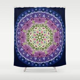 Colourful Dragonfly Mandala Shower Curtain