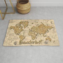 world map wanderlust gold Rug