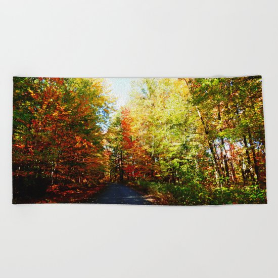 Into the Fall Forest Beach Towel