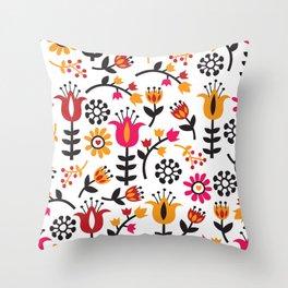 Retro Scandinavian Flowers Pattern Throw Pillow