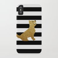 westie iPhone & iPod Cases featuring Highland Westie terrier dog in golden glitter by ialbert