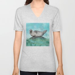 Cute Alaskan Iliamna Seal in Banana Pose Unisex V-Neck