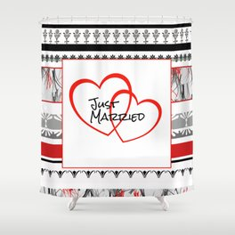 just Married Hearts white pattern II Shower Curtain