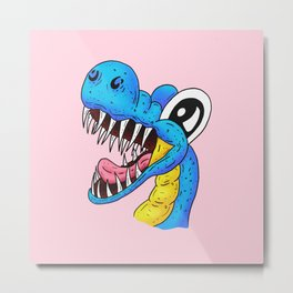 Dino Time! - The Happy Pet Dinosaur Pretty in Pink Metal Print