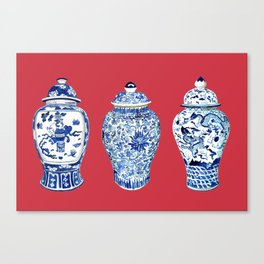 GINGER JAR TRIO ON RED Canvas Print