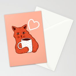 Peach Coffee Kitten Stationery Cards