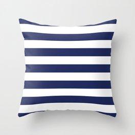 Navy Blue and White Stripes Throw Pillow