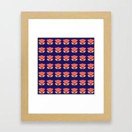 Japanese style flowers pattern blue Framed Art Print