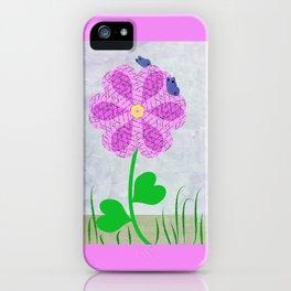 Une fleur avec deux papillons iPhone Case